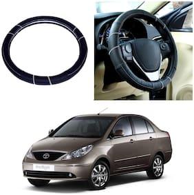 Oshotto SC-006 Leather Car Steering Cover Black Colour Compatible For Tata Indigo