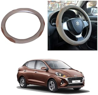 Oshotto SC-003 Genuine Leather Car Steering Cover Compatible with Hyundai Aura (Beige Tan)