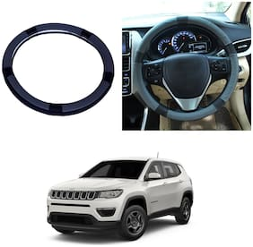 Oshotto SC-001 Leather Car Steering Cover Black and Grey Colour Compatible with Jeep Compass