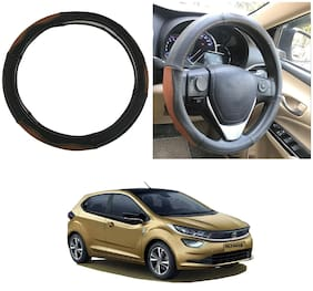Oshotto SC-002 Genuine Leather Car Steering Cover Compatible with Tata Altroz (Black Tan)