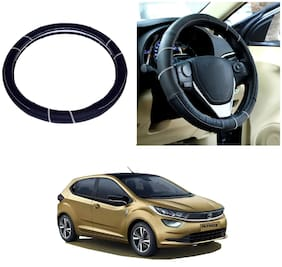 Oshotto SC-006 Genuine Leather Car Steering Cover Compatible For Tata Altroz (Black)