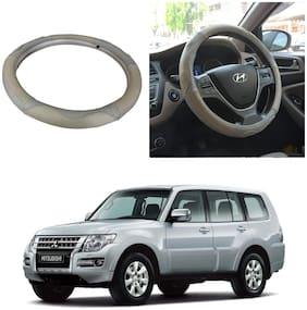 Oshotto SC-004 Leather Car Steering Cover Beige and Grey Colour for Mitsubishi Montero