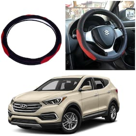 Oshotto SC-007 Leather Car Steering Cover Black and Red Colour Compatible with Hyundai Santa Fe