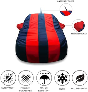 Oshotto Tafetta Car Body Cover with Mirror and Antenna Pocket For Hyundai i20 Elite (Red, Blue)