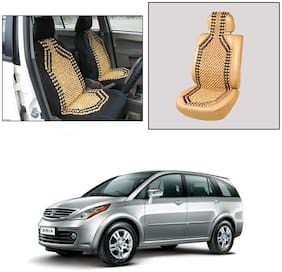 Oshotto Wooden Car Beads Car Wooden Acupressure Bead Seat Cover Compatible with Tata Aria - (Beige)