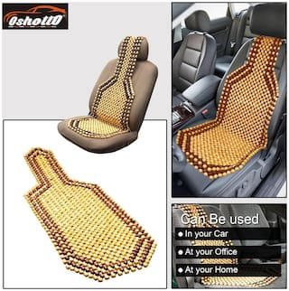OSHOTTO Wooden Car Beads Premium Quality Car Wooden Acupressure Bead Seat Cover for Maruti Breeza - (Beige) - Set of 1