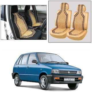 Oshotto Wooden Car Beads Car Wooden Acupressure Bead Seat Cover Compatible with Maruti Suzuki 800 - Set of 2