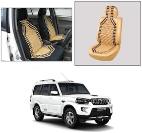 Oshotto Wooden Car Beads Car Wooden Acupressure Bead Seat Cover Compatible with Mahindra Scorpio - (Beige)