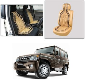 Oshotto Wooden Car Beads Acupressure Bead Seat Cover Compatible with Mahindra Bolero - (Beige)