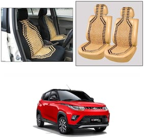 Oshotto Wooden Car Beads Car Wooden Acupressure Bead Seat Cover Compatible with Mahindra Kuv-100 - Set of 2