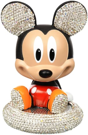 Oxygen Micky Mouse Stone Studded Bobble Head Action Toys Superheroes Cartoon - Car Perfume - Premium Fragrance Collection With Car Air freshener