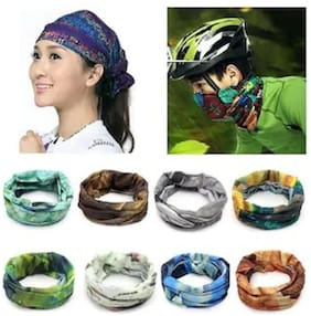 (Pack of 4) Men Woman Baandana Cap Skull Head Wrap Motorcycle Bicycle Headband Scarf Face Mask Free size.4