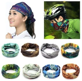 (Pack of 5)  Ashirwad Men Woman Baandana Cap Skull Head Wrap Motorcycle Bicycle Headband Scarf Face Mask Free size