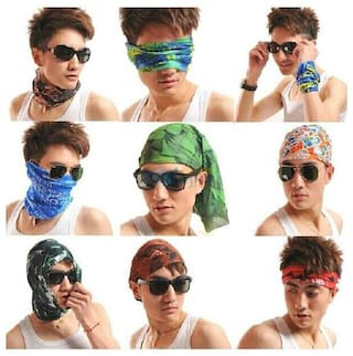 (Pack of 8)  Ashirwad Men Woman Bandana Cap Skull Head Wrap Motorcycle Bicycle Headband Scarf Face Mask Free size