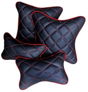 Pegasus Premium PU Leather Car Neck and Back Rest Cushion Pillows Combo - Universal for All Cars - Set of 4 (Black and Red)