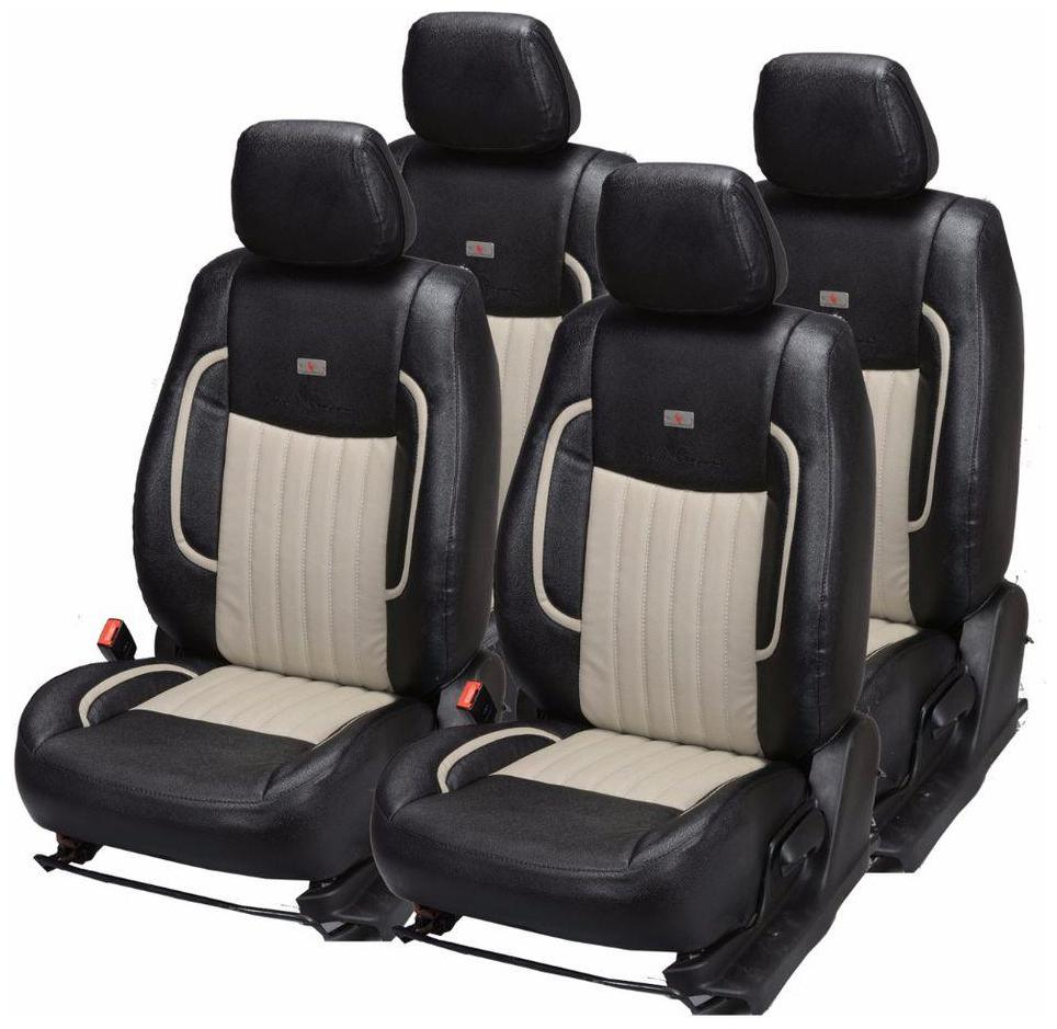 Universal Cream Beige Leather Look Car Seat Covers Set Protectors