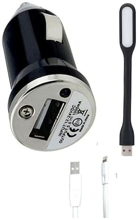 Pihu G Combo Of Dual USB Car Charger For Maruti Celerio With Portable LED Light & Micro Usb Charging Cable - Combo offer