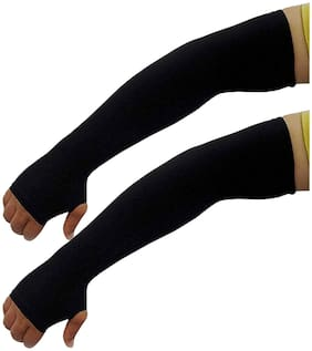PINKIT Men's Black Nylon Arm Sleeves Gloves with Thumb Hole For Sun Protection.