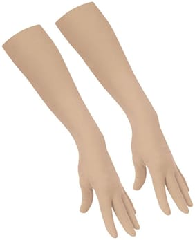 PinKit Cotton Driving Gloves Full Hand Arm Sleeves Gloves for Women and Men for Driving;Biking;Cycling;Hiking & Sports- Beige Colour (1 Pair)