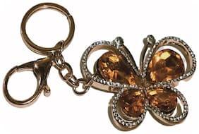PinKit Cute and Stylish Butterfly Key Chain Stone & Metal Crystal Charming Purse Key Chain / Handbag Bag Decoration Key Chain / Key Ring