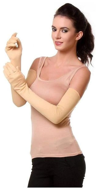 PINKIT Ladies Full Hand Gloves and Sun Protection Beige Gloves Women ( 1 Pair )