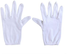 PinKit Men Cotton Hand Summer Gloves for Protection From Sun Burn/Heat/Pollution -1 Pair (Free Size) White