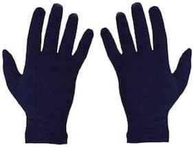 PinKit Men Cotton Hand Summer Navy Blue Gloves for Protection From Sun Burn/Heat/Pollution - Pack of 1 Pair (Free Size)