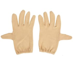 PinKit Men Cotton Hand Summer Gloves for Protection From Sun Burn/Heat/Pollution -1 Pair (Free Size) Beige