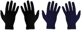 PinKit Men's Cotton Hand Summer Gloves for Protection From Sun Burn/Heat/Pollution (Free Size) -2 Pairs (Black & Navy Blue) Combo Pack