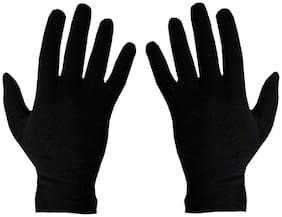 PinKit Men's Women's Black Cotton Riding Full Hand Gloves (Free Size;1 Pair)
