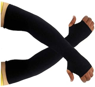 PinKit Men's and Women's UV Protection & Dust Pollution Protection Hand Socks with Finger Arm Sleeves (Black;Free Size)