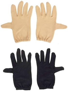 PinKit Men's Cotton Hand Summer Gloves for Protection From Sun Burn/Heat/Pollution (Free Size) -2 Pairs (Black & Beige) Combo Pack