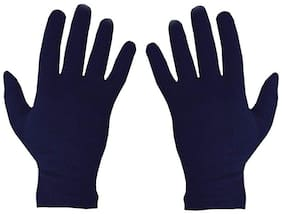 PinKit Men's Cotton Hand Summer Gloves for Protection From Sun Burn/Heat/Pollution (Free Size) Navy Blue - Pack of 1 Pair