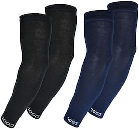 PinKit Men & Women Cotton Sports Arm Sleeves Combo Pack of 2 Pairs (Black,Navy Blue)