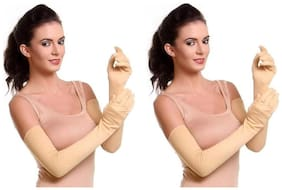 Pinkit Pack of 2 Beige Pairs for Women's/Ladies/Girl's Solid Long Gloves/Riding Gloves for Summer & Tanning Protection