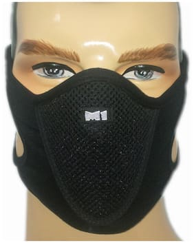 PinKit Sports Half (M1) Face Mask Outdoor Ski Masks for Motorcycle;Bicycle Face Mask;Best Protector from Pollution - Pack of 1(Black)