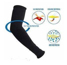 PINKIT Sunscreen ice sleeve cuff riding driving arm sleeve (Unisex) For Men & Women - Black (1 Pair)