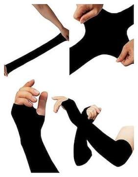 PINKIT Sunscreen ice sleeve cuff riding driving arm sleeve for Men & Women (Unisex) - Black (1 Pair)