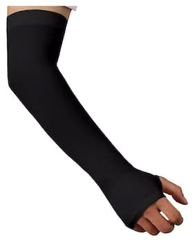 PINKIT Unisex Fingerless Nylon Arm Sleeves;Protection Sleeves from Sun Tanning with Thumb Hole for Driving;Biking;Cycling (1 Pair) - Black