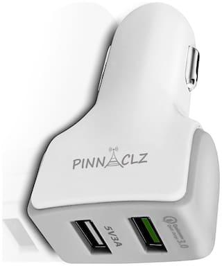 Pinnaclz Qualcomm QC3.0 Car Charger Dual USB 3 Amp (White)