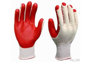 Polyurethane Coated Extra Heavy Anti Cut Gloves (White and Red)