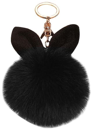 Buy Pompon Fluffy Women Rabbit Ear Fur Ball Keychain (Black) Online ... 3e7e70ab0