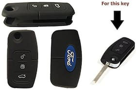 POPIO Silicone Key Cover to fit Ford Ecosport Flip Key (Black)