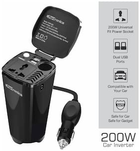 Portronics CarPower One Portable 200W Car Inverter with Single AC 220V Output (POR-003;Black)