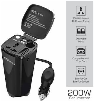 Portronics CarPower One Portable 200W Car Inverter with Single AC 220V Output (POR-003;Black)