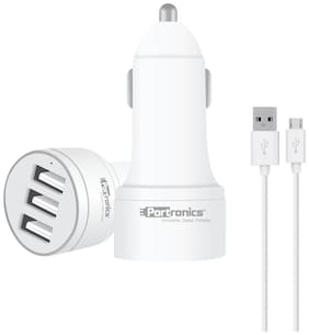 Portronics POR-380 CarPower 3T 3.4A Car Charger with Three USB Port, 1M USB Cable, White