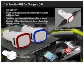 Power Plus Backlit Dual Usb Ports Car Charger Without Cable