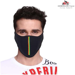 Mobidezire Premium Bike Ridding Dust Free Cotton Mouth & Nose Cover With Ear Starp Half Mask(Black, Freesize)