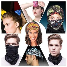Premium Polyester Multipurpose Bandanna. Can be worn as Bandanna,Headband Hair Band, Face Mask, Head-wrap, Pirate Wrap, Skull Cap and Beanie Caps - Pack Of 6