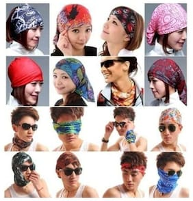 Premium Polyester Mutlipurpose Bandanna. Can be worn as Bandanna, Hair Band, Face Mask, Scarf, Head-wrap, Pirate Wrap, Skull Cap and Beanie Caps - Pack Of 3